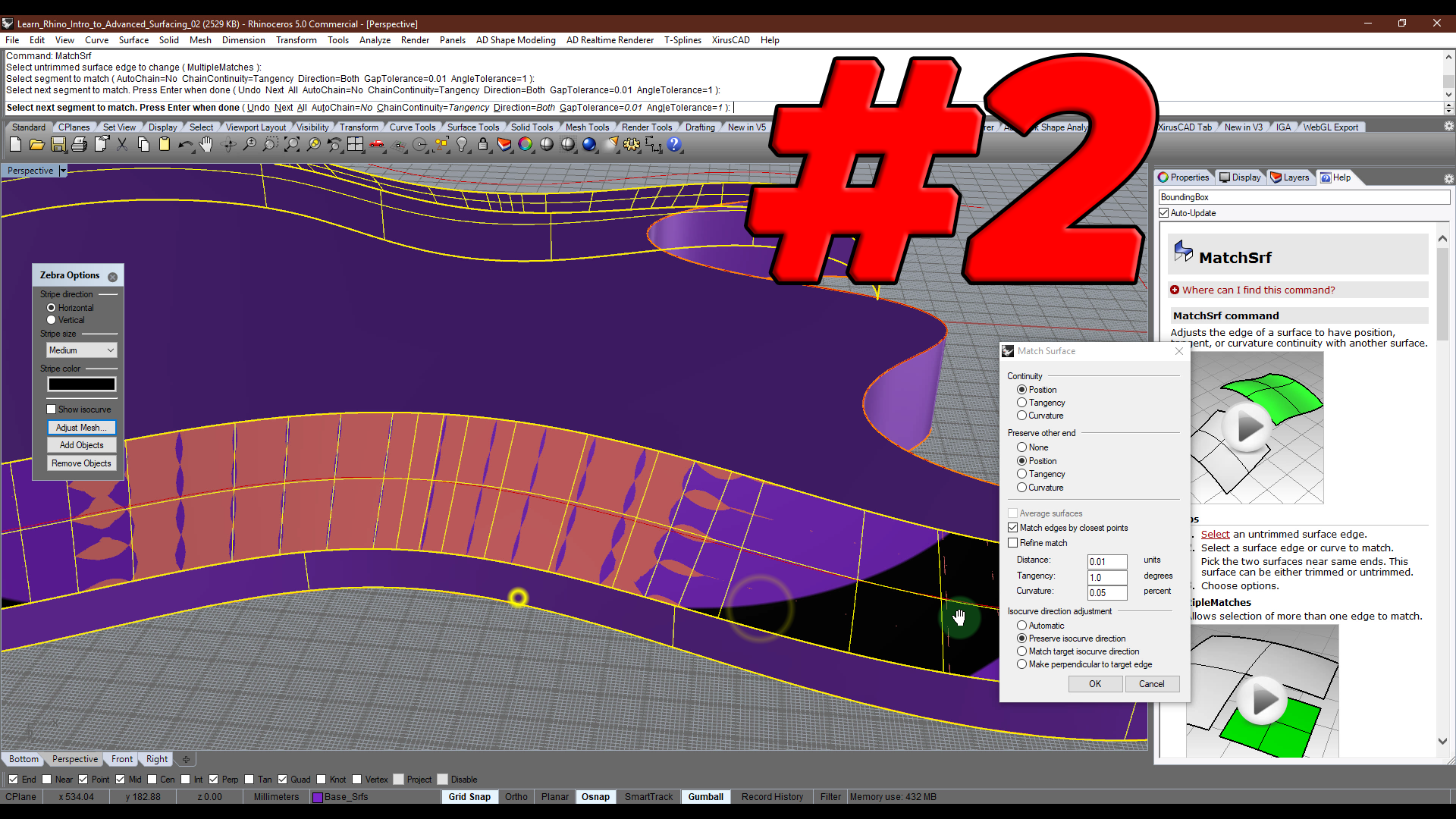 Intro to Advanced Surfacing # 2: First body surfaces in Rhino