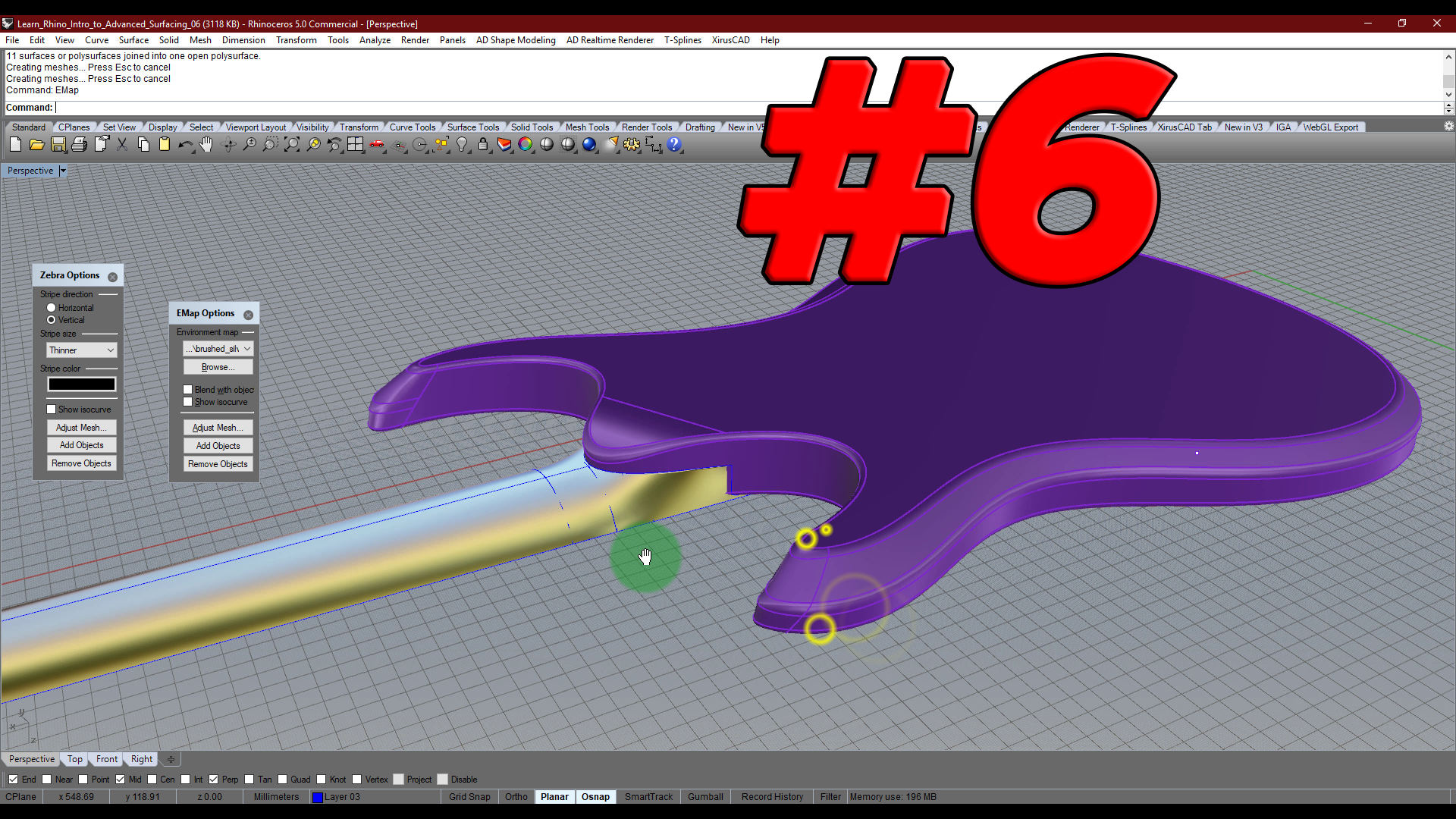 Intro to Advanced Surfacing # 6: Building the neck with Rhino